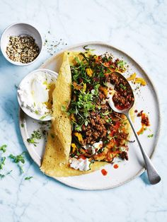 chickpea pancakes with rainbow chard and spicy lamb from donna hay magazine issue 80 Autumn 2015