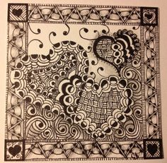 Hearts for Valentine's Day Zentangle