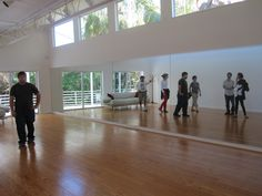 Dance studio in Bob's original studio on the property. Left to right: Carrell Courtright (studio technician for the Residency), Matt Hall (facilities manager for the Residency), Ann Brady (Residency Director), Carrell (again), Maria Elena Gonzalez (sculptor), Stephen Vitiello (visual and sound artist), and Monica Marin (Residency Coordinator). Oddly enough, the artist who is now working in the studio, Linda K. Johnson, from Portland, arrived later and wasn't on the tour.