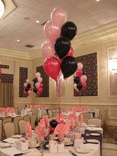 Pink & Black Balloon Centerpiece with Balloon Base - Pink event design idea Sweet Sixteen Decorations, Dance Decorations, Pink Party Decorations, Balloon Inside Balloon, Balloon Dance, Graduation Balloons, Birthday Balloons, Ballons Violets, Ballon Rose