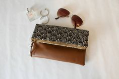 Fold Over Clutch Brown Foldover Clutch Purse Zipper Clutch Foldover Clutch, Clutch Purse, Boho, Fabric Decor, Small Bags, Etsy, Bridesmaid Gifts, Bag Making, Leather Handbags