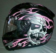 AFX Helmet  (Women's Used Motorcycle Helmets, Black w/ Pink Skulls, Ladies Streetbike)