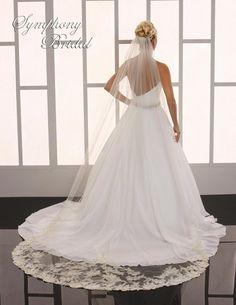 Regal Lace Cathedral Length Wedding Veil Symphony Bridal 6765VL - Affordable Elegance Bridal -