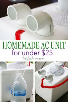 Here is a simple homemade AC unit that you can build in just a few minutes. Wine Bottle Crafts, Mason Jar Crafts, Mason Jar Diy, Diy Home Decor Projects, Projects To Try, Decor Ideas, Craft Ideas, Homemade Ac, Diy Ac