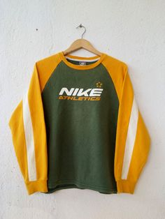 Vintage 90's NIKE Swoosh Raglan Sweatshirt with Big Spell Out 5 Stars Printed Sweater Jumper Pullover Swag Hip Hop Streetwear Size L VSS106 by fiestorevintage on Etsy