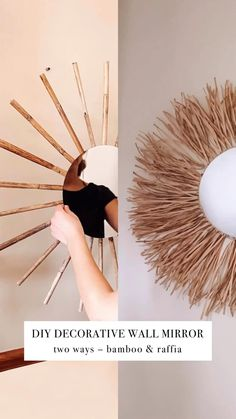 Lustro Boho videos crafts for the home bedroom DIY Decorative Wall Mirror 2 Ways Diy Crafts For Home Decor, Diy Crafts Hacks, Diy Crafts To Sell, Diy Room Decor Videos, Twig Crafts, Diys, Bamboo Crafts, Dollar Tree Crafts, Diy Home Decor On A Budget