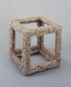 ", 1964. pins on wood, 18 x 18 x 18"" (45.7 x 45.7 x 45.7 cm)."