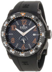 Edox Men's 96001 37NO NIO2 Class-1 Iceman Limited Edition Watch Edox. $2549.95. Scratch resistant anti-reflective sapphire crystal. Limited edition timepiece. Automatic helium valve. Black textured dial with white and orange markings and indices; Unidirectional rotating bezel. Water-resistant to 3280 feet (1000 M)