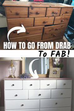 I love nothing more giving a brand new look to a piece of furniture or a household item. This old pine dresser got a makeover to fit in with our new bedroom Painting Old Furniture, Pine Bedroom Furniture, Bedroom Furniture Makeover, Chair Makeover, Furniture Redo, Diy Furniture Videos, Diy Furniture Renovation, Furniture Refinishing, Upcycled Furniture