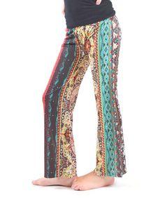 Loving this Mint & Black Geometric Bootcut Pants - Girls on #zulily! #zulilyfinds