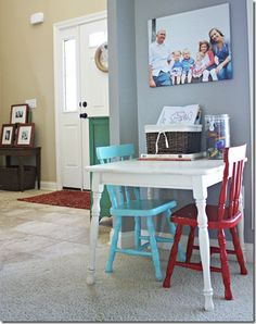 painted chairs in different colors - would be fun in my kitchen or craft room!