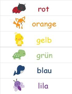 Colors in German ~ die Farben ~ Classroom Display Print and laminate these cute color displays. These displays are designed for children who are learning the color names in German.