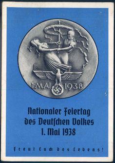 """""""Nationaler Feiertag des Deutschen Volkes 1.Mai 1938"""". With postmark."""