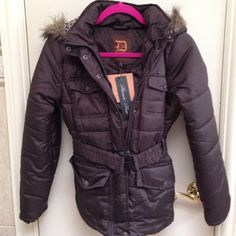 Brand New Brown Winter Jacket Brand NWT brown winter jacket with leopard hood. The hood can be zipped off. It comes a little past the waist. No rips or damage never worn. Jackets & Coats Puffers