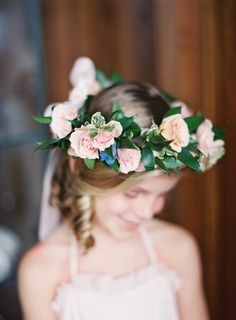 Flower girl floral crown. Photography : Lauren Gabrielle Photography Read More on SMP: http://www.stylemepretty.com/2016/08/05/downtown-cleveland-pastel-city-wedding/