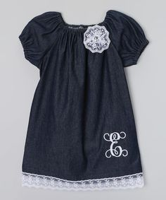 Look at this #zulilyfind! Enchanted Everyday Denim Monogram Bow Puff-Sleeve Dress - Infant, Toddler & Girls by Enchanted Everyday #zulilyfinds