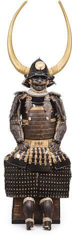 A russet iron armor with impressive helmet  Edo period (18th century), the helmet later