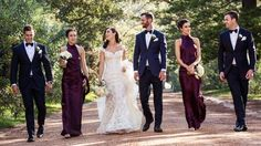 Bride, groom and bridal party ideas: Brides wears Steven Khalil bespoke French lace gown with cap sleeves, groom and groomsmen in tuxedos. #weddings #bridalparty #bride #groom #weddingdress #bridesmaids #tuxedo