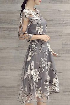 White Floral Mid-Calf Dress – Burlap Apparel