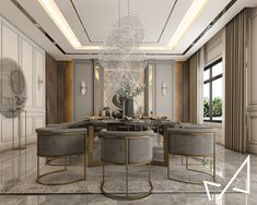 Dining room with Neo-classic style on Behance Classical Interior Design, Vintage Interior Design, Luxury Interior Design, Interior Architecture, Classic Dining Room, Luxury Dining Room, Luxury Rooms, Victorian Homes, Interior Design Living Room