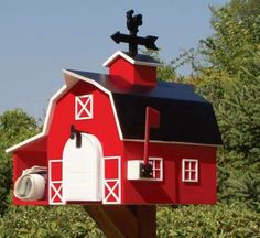 home mailbox images Home Mailboxes, Unique Mailboxes, Country Mailbox, Red Farmhouse, You've Got Mail, Post Box, Bird Houses, Cool Stuff, Mail Boxes