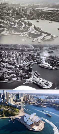 "Aerial shots of Circular Quay > 1962 > Taken from the book ""A Pictorial History Old Sydney Way Back When"" by Ian Collis National Library of Australia industry.au By Curt Flood] Then And Now Pictures, Old Pictures, Old Photos, Sydney Australia, Australia Travel, Sydney City, Sydney Beaches, Largest Countries, City Photography"