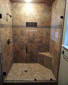 Master bathroom designs with walk in shower walk in shower remodel walk in shower tile ideas walk in shower design ideas walk in walk in shower remodel Bathroom Renovations, Home Remodeling, Bathroom Ideas, Shower Bathroom, Bathroom Designs, Bath Ideas, Bathroom Bench, Big Shower, Bathroom Colors