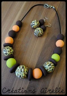 Collier Créations Airelle en polymère Polymer Clay Necklace, Polymer Clay Beads, Boho Jewelry, Beaded Jewelry, Beaded Necklace, Wooden Necklace, Polymer Clay Projects, Ceramic Jewelry, E Design