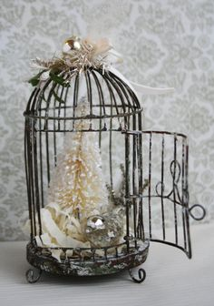 Silver and Cream Weathered Wire Bird Cage - Holiday Ornament Bird Cage Decoration - Mercury Glass Bird Ornament - Christmas Tree Ornament
