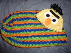 Sesame Street bert crochet baby cocoon by rockababiez on Etsy Crochet Baby Cocoon, Crochet Baby Hats, Love Crochet, Baby Blanket Crochet, Crochet For Kids, Crochet Clothes, Crochet Outfits, Crochet Blankets, Loom Knitting