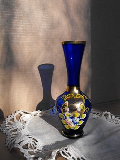 Cobalt Blue Glass Vase with Gold and Handpainted Flowers.