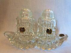 Vintage Salt & Pepper Set Bohemia Crystal Made in Czechoslovakia