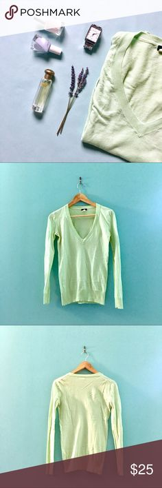 J.Crew V-Neck Cotton Sweater Perfect for spring and summer! A soft pistachio green v-neck sweater in 100% cotton. There's a slight amount of pilling on the fabric, but it's minimal and can only be detected up close.   Don't like the price? 💸 Make me an offer with the button below! 👇🏻 J. Crew Sweaters V-Necks