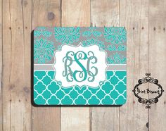 Personalized Mouse Pad, Aqua & Grey Mouse Pad, Custom Mouse Pad, Damask Mouse Pad, Chevron Mouse Pad, Monogram Mouse Pad by PrintBiscuit on Etsy https://www.etsy.com/listing/223695450/personalized-mouse-pad-aqua-grey-mouse