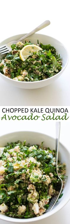 Nutrient packed Kale Quinoa and Avocado Salad. Super healthy and loaded with tons of fresh flavor!