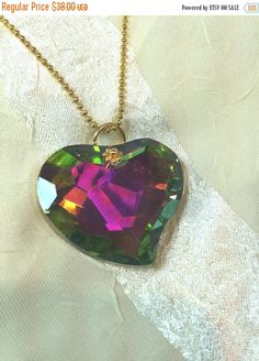 SALE 20% OFF Faceted Love Necklace Crystal Prism With Gold Accents
