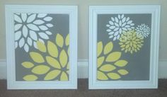 Acrylic Flowers on Canvas by KJacksonDesigns on Etsy, $50.00