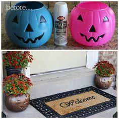 Turn a cheap plastic pumpkin into a fantastic planter. I love this idea for your porch.