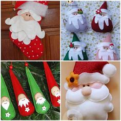 Papai Noel de Feltro com Moldes Christmas Time, Merry Christmas, Xmas, Christmas Ornaments, Research Projects, Secret Santa, Alice, Arts And Crafts, Holiday Decor