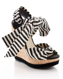 Black and white stripe cork wedge.