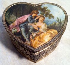 "Vintage ""Spring by Boucher"" Metal Filigree Heart Trinket Box with Red Velvet Lining"