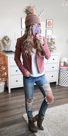 #fall #outfits women's pink full zip jacket and pants set. Click To Shop This Look. #fallwomenclothing