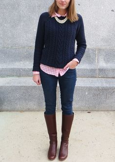 Navy cable knit sweater layered over pink gingham shirt, tall boots, pearl necklace // Adrette Outfits, Stylish Outfits, Fashion Outfits, Preppy Fall Outfits, Preppy Fall Fashion, Preppy Dresses, Blue Sweater Outfit, Gingham Shirt Outfit, Long Sweater Outfits