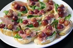 Grape and Proscuitto Crostini with Goat Cheese Recipe