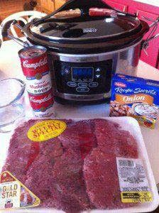 "Crockpot cube steaks & gravy! I double the soup, cuz we like lots of gravy. Also, try making this with mushroom soup & tomato soup (1:1 ratio). You'll end up with fork-tender ""swiss-steak""! (Leave all the other ingredients the same)"