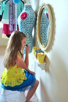 Simple DIY Vanity  A Little Girls Colorful BedroomLittle Girls Vanity   Milagros   Pinterest   Shelf ideas  Shelves  . Diy Vanity For Little Girl. Home Design Ideas