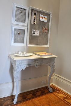 frames, radiator grill and some spray paint equal beautiful organizer for mail and other papers