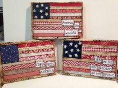 "5.5x7"" mixed media Flag ""God bless America"" wood sign"