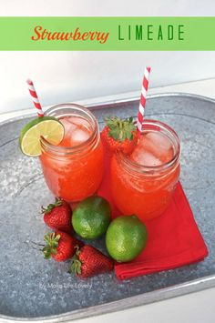 After a game, quench your thirst with this Strawberry Limeade. Refreshing and rejuvinating! #drinks #pinksandgreens