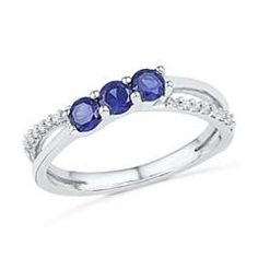 Lab-Created Blue Sapphire and Diamond Accent Cross-Over Midi Ring in Sterling Silver